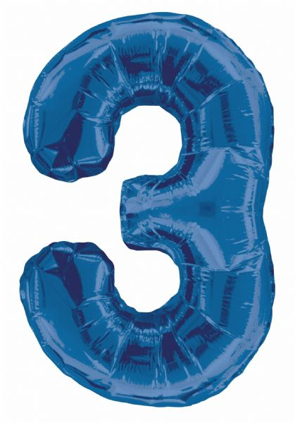 Blue Number 3 Foil Balloon